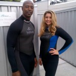 Patrick Crayton and me at Sea World (about to get in with beluga whales!)